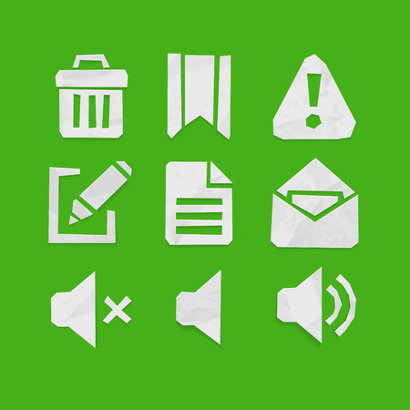 straight edge: Paper Cut Icons for Web and Mobile Applications Set