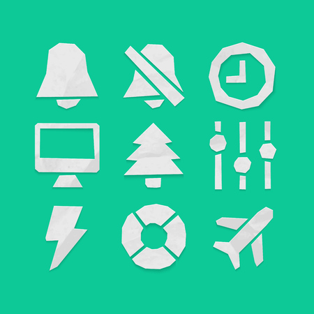 Paper Cut Icons for Web and Mobile Applications Set 6 Vector
