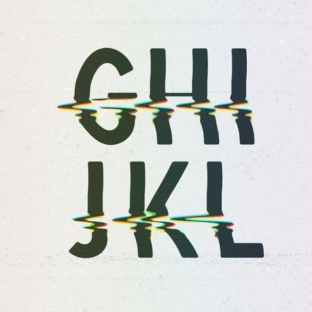 Vector CMYK Print Distortion Font van G naar L