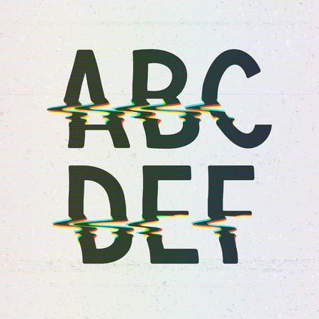 word game: Vector CMYK Print Distortion Font from A to F Illustration