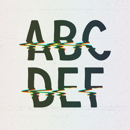 Vector CMYK Print Distortion Font van A tot F