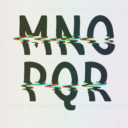 distorted: Vector CMYK Print Distortion Font from M to R