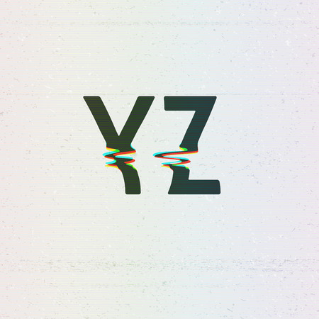 Vector CMYK Print Distortion Font from Y to Z Vector