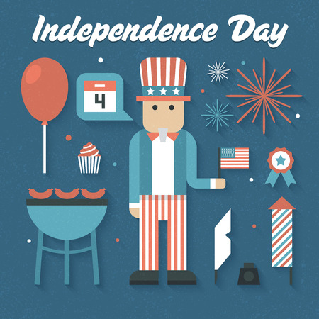 Vector illustration: Flat Icons Set of Independence Day Vector
