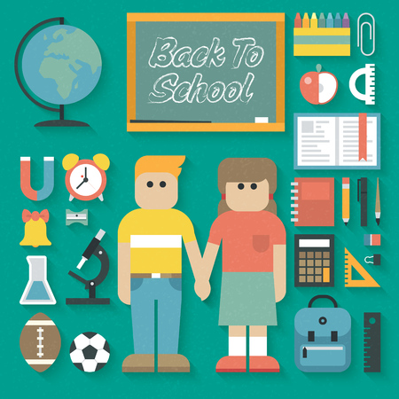 supplies: Vector illustration: Back to School Flat Icons Set