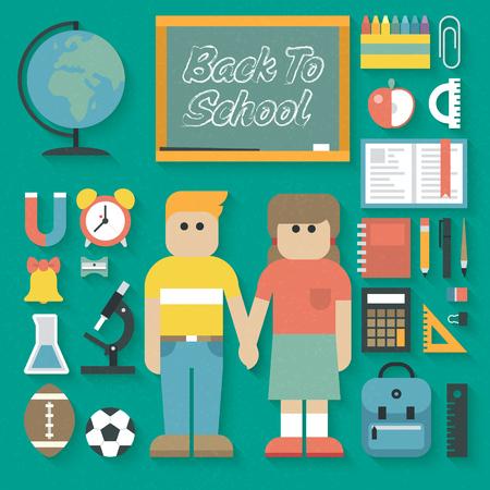 convivencia escolar: Vector ilustraci�n: De nuevo a Flat School Icons Set