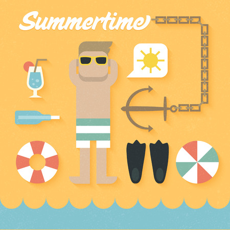 bouy: Vector illustration: Flat Icons Set of Summer Holiday Illustration