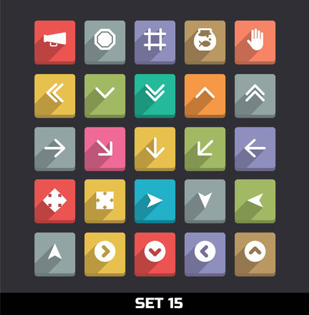 Trendy Vector Icons With Long Shadow Set 15