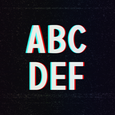 Vector Font with TV Stereo Effect. From A to F Vector