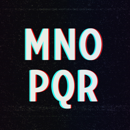 Vector Font with TV Stereo Effect. From M to R Vector