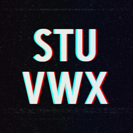 Vector Font with TV Stereo Effect. From S to X Vector