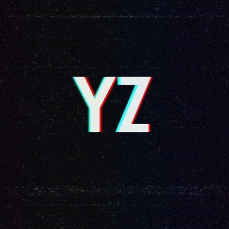 distorted: Vector Font with TV Stereo Effect. From Y to Z Illustration