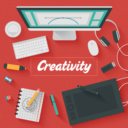 Trendy Flat Design Illustration: Creative office workplace. Icons set of business work flow items, elements and gadgets