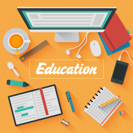 Trendy Flat Design Illustration: Education workplace. Icons set of business and educational work flow items, elements and gadgets Vector