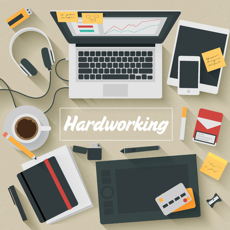 Trendy Flat Design Illustration: Hardworking. Icons set of business work flow items, elements and gadgets Vector
