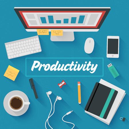productividad: Moderno Piso de diseño de ilustración: Lugar de trabajo de oficina Productivo. Icons set de artículos de flujo de trabajo del negocio, los elementos y aparatos