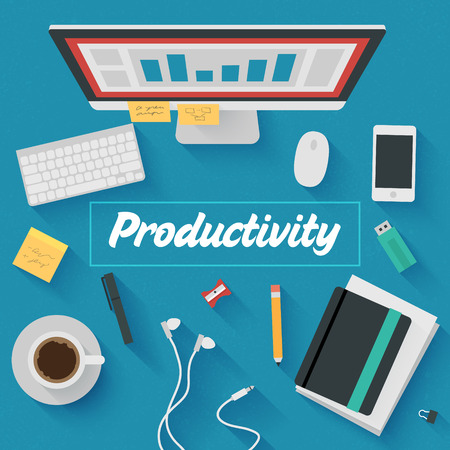 Trendy Flat Design Illustration: Productive office workplace. Icons set of business work flow items, elements and gadgets Vector