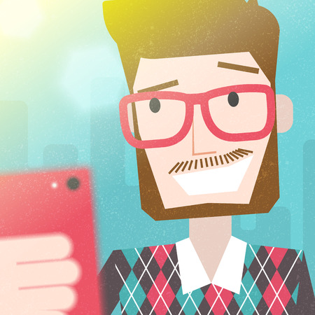 Bearded Man Taking a Selfie Photo with smart phone.  Vector