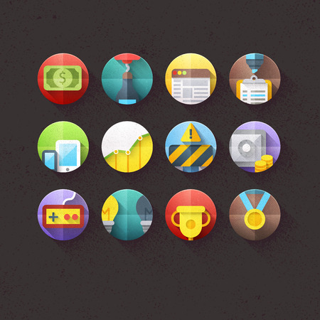 Textured Flat Icons for mobile and web applications Set 2 Vector