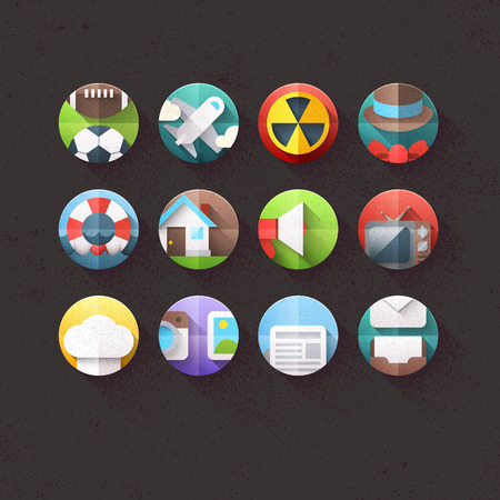 Textured Flat Icons for mobile and web applications Set 3 Vector