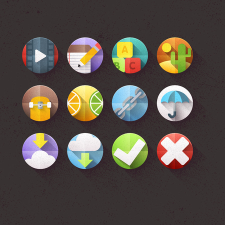 Textured Flat Icons for mobile and web applications Set 4 Vector