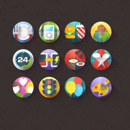 Textured Flat Icons for mobile and web applications Set 5 Vector