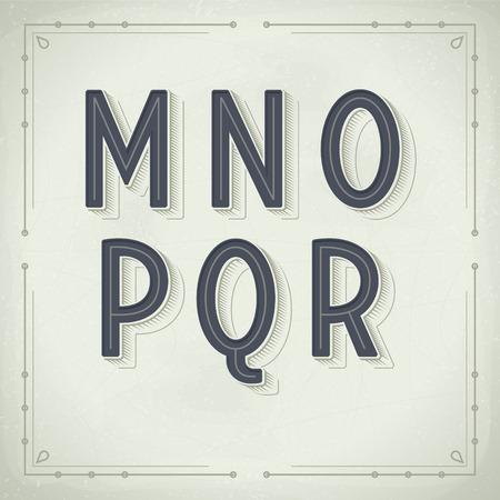 retro font: Vector Retro Font da M a R. Vintage Tipografia