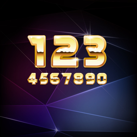 Vector Golden Shiny Alphabet Digits Vector