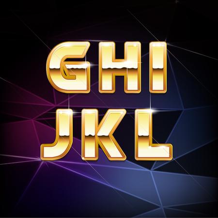 chrome letters: Vector Golden Shiny Alphabet form G to L
