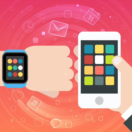 smartphone apps: Smart Watch and Smartphone Synchro concept with mobile apps icons. Vector illustration