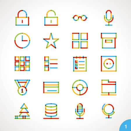 Vector Highlighter Line Icons for any purpose Set 1 Ilustracja
