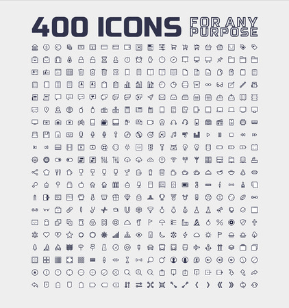 400 Universal Icons for Any Purpose Banco de Imagens - 35112012
