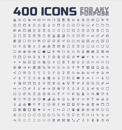 400 Universele Pictogrammen voor welk doel Stock Illustratie