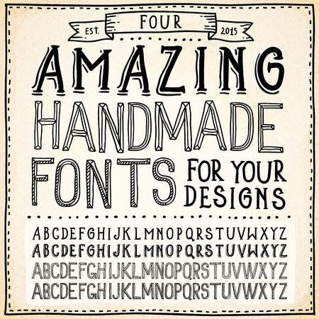 abecedario: Alfabetos de escritura a mano. Vector Hand Drawn Fuentes