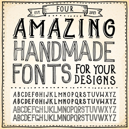 hand outline: Handwriting Alphabets. Vector Hand Drawn Fonts