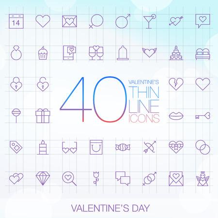 40 Trendy Thin Icons Valentine\\\\ Illustration