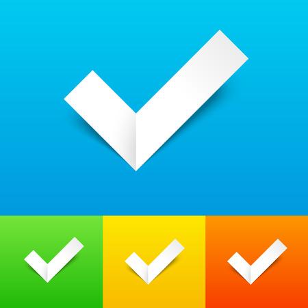 confirmacion: Vector Tick Confirmaci�n Icon Set. Papel Marca de verificaci�n con la sombra en el fondo colorido