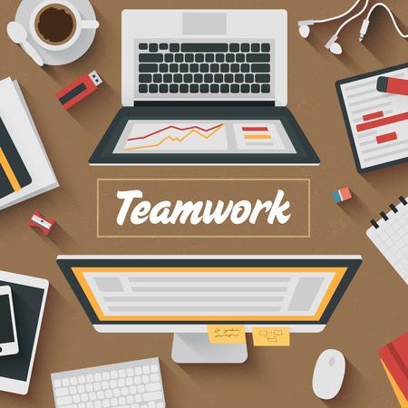 articulos oficina: Moderno Piso de diseño de ilustración: la oficina de trabajo en equipo. Iconos conjunto de elementos de flujo de trabajo empresarial, elementos y aparatos