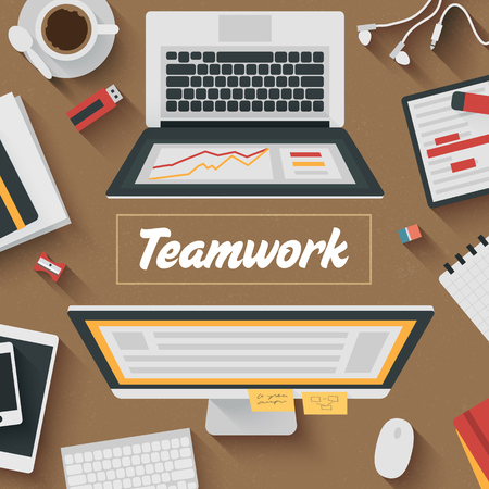 work flow: Trendy Flat Design Illustration: Teamwork office workplace. Icons set of business work flow items, elements and gadgets