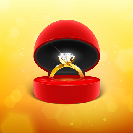 Diamond Engagement Ring in Box Vector Icon