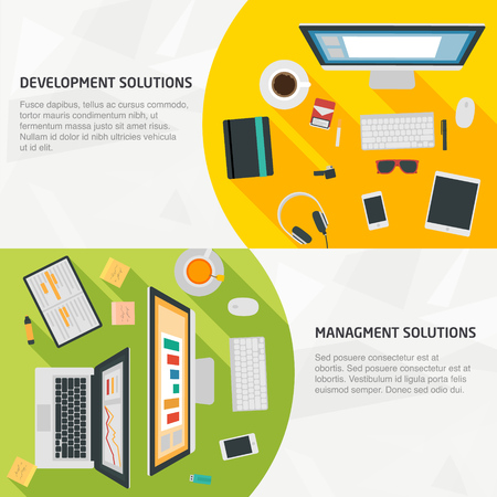 consulting services: Flat Design Banners for business, development, management, and teamwork. Concepts for infographics, web and presentations