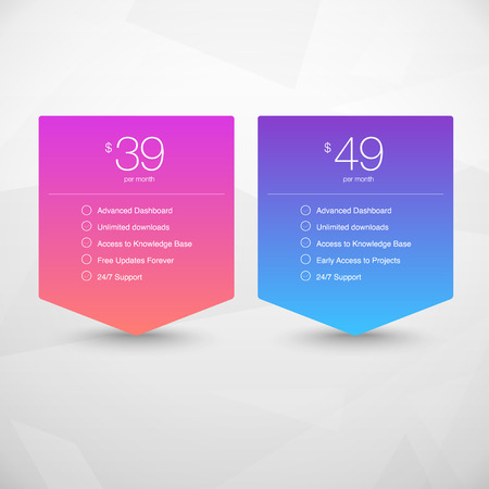 pricing: Two Vector Pricing Tables for Web, Presentations and Infographics templates. Vivid illustration on Geometric modern background Illustration