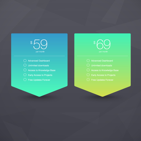 sales chart: Two Vector Pricing Tables for Web, Presentations and Infographics templates. Vivid illustration on Geometric modern background Illustration