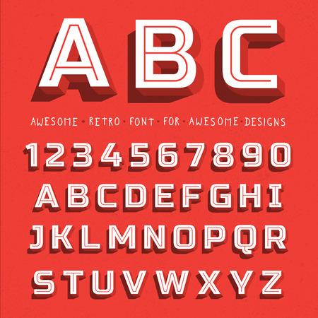 pila bautismal: Vector retro 3D Font con la sombra. Alfabeto del vintage en fondo del grunge