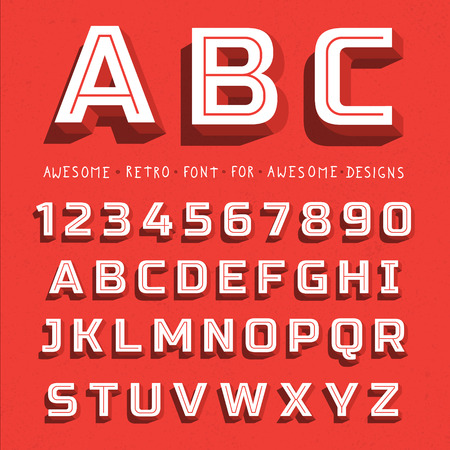 Vector Retro 3D Font with shadow. Vintage Alphabet on grunge background