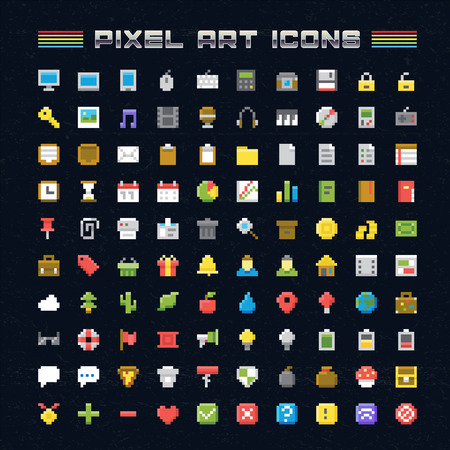 Vector Pixel Art Icons. Oldschool video game pixel style icons for any web or mobile applications and presentation Illustration