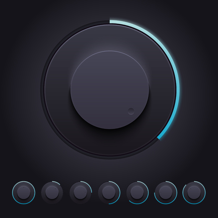 knobs: Vector Dark Knobs Set for Web and Mobile applications Illustration