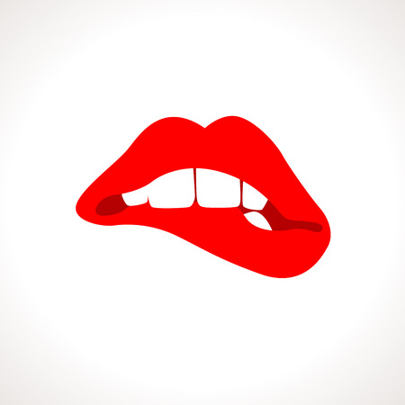 Vector Woman Biting Lips Popart Illustration Vettoriali