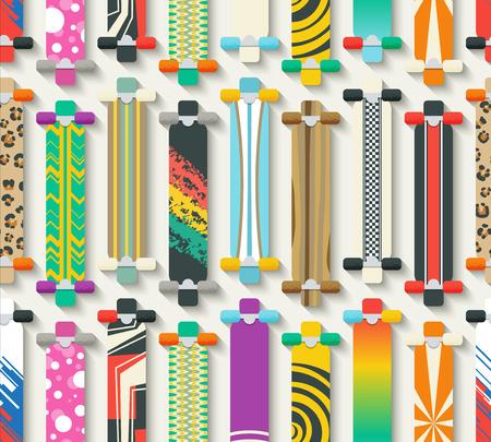 skate board: Various Longboards Seamless Pattern. Vector Background Illustration