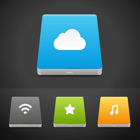 Portable Data Storage Hard Disc Drive Icons